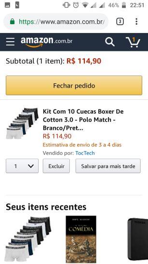 04d4529d6 Kit Com 10 Cuecas Boxer De Cotton 3.0 - Polo Match - Branco Preto ...