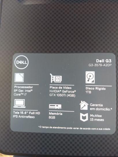 Notebook Gamer Dell G3-3579-U20P 8ª Geração Intel Core i7
