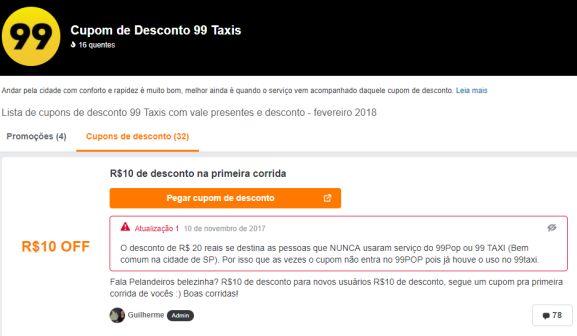 30% OFF » Cupom de desconto 99 Taxis, fevereiro 2019 - Pelando 7cb9844900