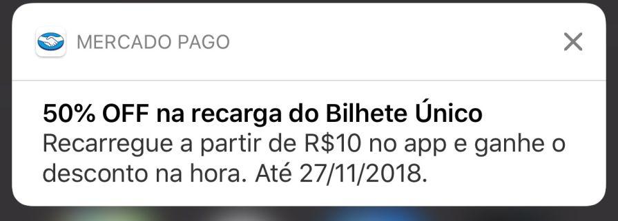 SOMENTE SP) 50% OFF na recarga do Bilhete Único no app do Mercado ... d36e841e7e7a3