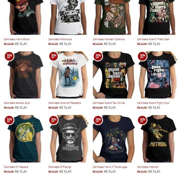 50% OFF nas camisetas femininas na loja RedBug  065de97e6367c