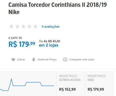Camisa Torcedor Corinthians II 2018 19 Nike - R 129  3db2b8d3a9b90