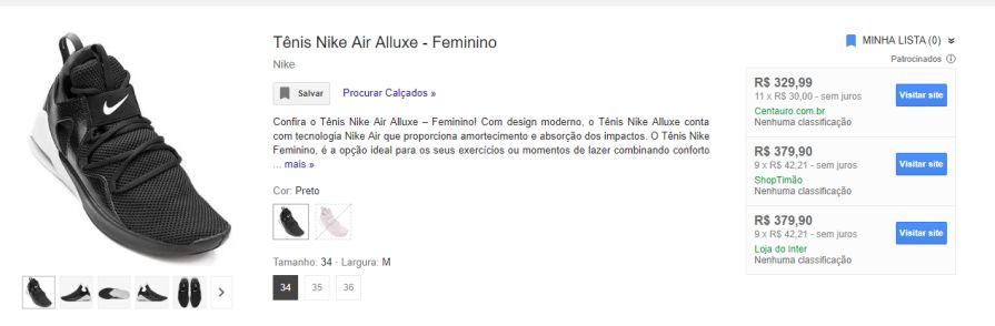 Tênis Nike Air Alluxe Feminino R300 Pelando