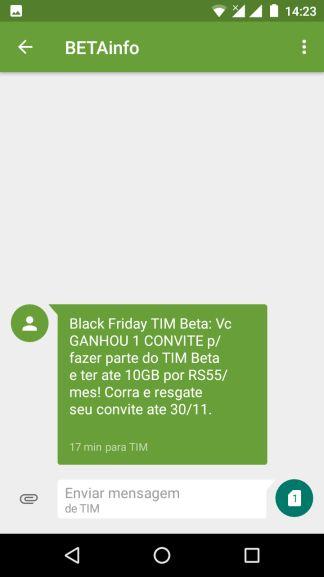 Usuários Selecionados Convite Tim Beta Black Friday Pelando
