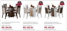 [Americanas] Conjunto de Mesa de Jantar Isis com 4 Cadeiras Isis em 3 cores Diferentes por R$ 400,00
