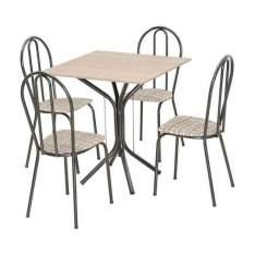 [Mobly] Conjunto Thais 004 Champagne 4 Cadeiras Craqueado Preto Rattan por R$90
