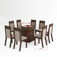 [EXTRA] Conjunto de Mesa para Sala de Jantar com 8 Cadeiras e Lugares Flórida com Tampo de Vidro por R$ 1099