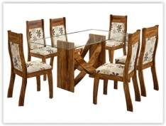 [Submarino] Conjunto de Mesa de Jantar Mississipi com 6 Cadeiras Avelã/Floral Anis - Viero Móveis por R$ 641