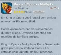 [Apple] Jogo King of Opera - Grátis