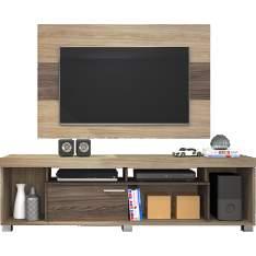 [Shoptime] Rack com Painel Gallardo 100% MDF Areia/Amêndoa Fosco - Classic Home R$ 199