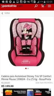 [Ponto Frio] Cadeira para Automóvel Disney Trio SP Comfort Minnie Mouse 199604 – 0 a 25 Kg - Rosa/Preta por R$ 199