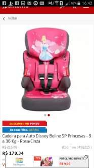 [Ponto Frio ] Cadeira para Auto Disney Beline SP Princesas - 9 a 36 Kg - Rosa/Cinza por R$ 179