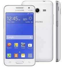 """Smartphone Samsung Galaxy Core 2 Duos Branco com Tela 4.5"""", Dual Chip, Câmera de 5MP, 3G, Android 4.4 e Processador Quad Core 1.2 Ghz R$429,00"""