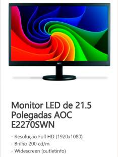"""[Balão da Informática] Monitor LED AOC 21,5"""" E2270SWN por R$463"""