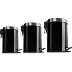 [WALMART] Kit de Lixeiras Inox Mainstays Premier com 3 Unidades Preto - R$90