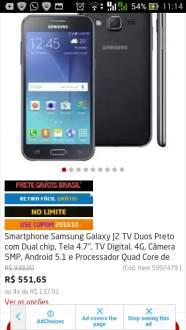 """[POnto Frio]Smartphone Samsung Galaxy J2 TV Duos Preto com Dual chip, Tela 4.7"""", TV Digital, 4G, Câmera 5MP Por R$ 617"""