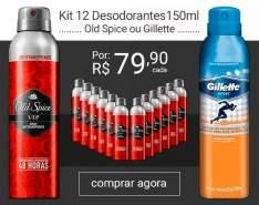 [Sou Barato] Kit com 12 Desodorantes OLD Spice ou Gilette por R$ 63