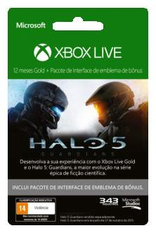 [Saraiva] Xbox Live 12 Meses Halo 5 Guardians + DLC - R$113