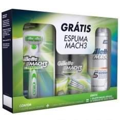 [Ricardo Eletro] Kit Mach3 Sensitive: Aparelho de barbear + Carga com 2 unidades + Espuma para barbear 250m por R$ 27