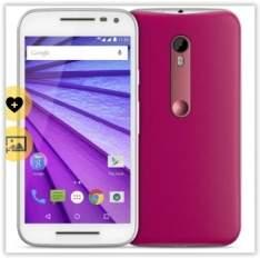"""[Saraiva] Smartphone Motorola Moto G 3ª Geração Branco e Pink 4G Tela 5"""" Android 5 Câmera 13Mp Dualchip 16Gb  por R$ 793"""