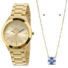 [Ponto Frio] Relógio Feminino Analógico Allora Dourado com Colar e Par de Brincos por R$ 139