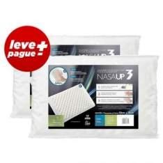 [Ricardo Eletro] Kit Promocional 2 Travesseiros NasaUp 2 em 1: Tecnologia Viscoelástico e com toque massageador Branco - Fibrasca por R$ 45
