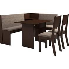 [Americanas] Conjunto Mesa de Canto Kamy com Banco e 2 Cadeiras Choco/Canela - Viero Móveis - R$396