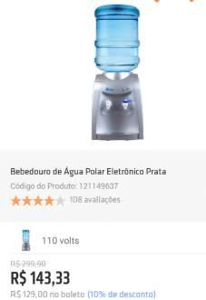 [Shoptime] Bebedouro de Água Polar Eletrônico Prata por R$ 129