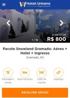 [Hotel Urbano] Pacote Snowland Gramado: Aéreo + Hotel + Ingresso