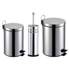 [Clube do Ricardo] Kit Banheiro 3 Peças: Lixeiras em Aço Inox com capacidade para 3 e 5L + Escova Sanitária com Cerdas Flexíveis e Suporte em Aço Inox - Travel max - R$ 69,90