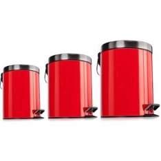 [Walmart] Kit de Lixeiras Inox Mainstays Premier com 3 Unidades Vermelho por R$ 60