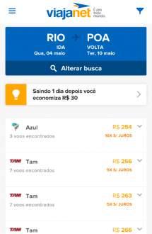 [Viajanet] Passagens aéreas na promoção. Rio X POA a partir de R$254