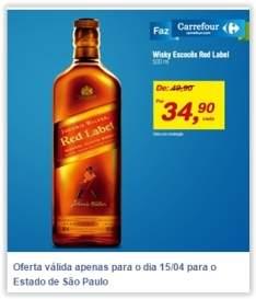 [Carrefour/Lojas Fisicas] Wisky Escocês Red Label 500 ml por R$ 35