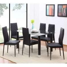 [Mobly] Conjunto de Mesa com 6 Cadeiras 150339 Preto. por R$ 800