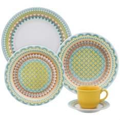 [Éfacil] Aparelho de Jantar/Chá Cerâmica Stoneware 30 Peças Floreal Bilro - Oxford - R$232
