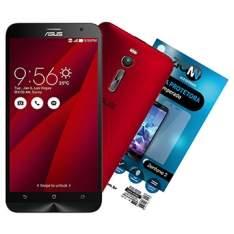 """[EFACIL] Smartphone Zenfone 2, Dual Chip, Vermelho, Tela 5.5"""", 4G+WiFi, 13MP, 16GB + Película Vidro Zenfone 2 - Asus POR R$1078,65"""