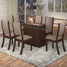 [Submarino] Conjunto Sala De Jantar Mesa Lina 6 Cadeiras Kiara Viero Choco/Canela R$699