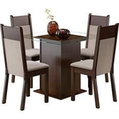 [SUBMARINO] Conjunto de Mesa de Jantar Isis Tabaco com 4 Cadeiras Madesa - R$338