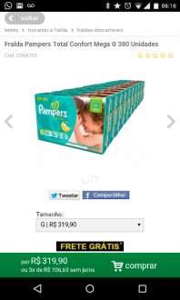 (Ricardo Eletro) Fralda Pampers Total Confort Mega G por R$ 298
