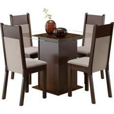 [AMERICANAS] Conjunto de Mesa de Jantar Isis Tabaco com 4 Cadeiras Isis Tabaco/Suede Perola - Madesa - R$360