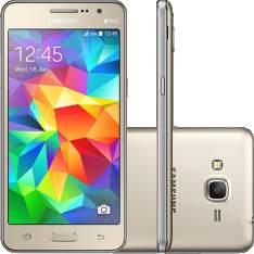 """[Sou Barato] Smartphone Samsung Galaxy Gran Prime Duos Dual Chip Android Tela 5"""" Memória Interna 8GB 3G Câmera 8MP - Dourado por R$ 566"""