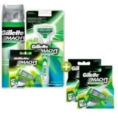 [RICARDO ELETRO] Kit Gillette Mach3 Sensitive: Aparelho + 8 Cargas + Espuma Mach3_  por R$ 57