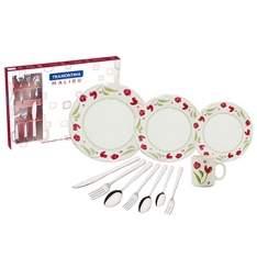[EFACIL] Aparelho de Jantar Cerâmica 16 Peças Biona Roseli - Oxford + Faqueiro Inox 42 Peças Malibu - Tramontina por R$ 132,04