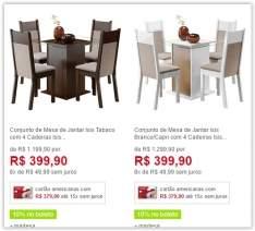 [Americanas] Conjunto de Mesa de Jantar Isis com 4 Cadeiras  - Madesa por R$ 323