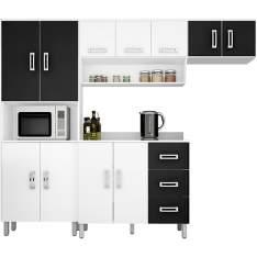 [Americanas] Cozinha Compacta Poliman Franciele Branco/Preto 4 Peças: Paneleiro, Aéreo, Armário Geladeira e Balcão  - R$360