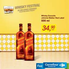 [Carrefour Loja Física] Whiskey Johnnie Walker Red Label 500 Ml por R$ 35