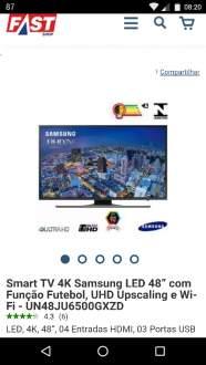 """[Fast Shop] Smart TV 4K Samsung LED 48"""" com Função Futebol, UHD Upscaling e Wi-Fi R$2894"""