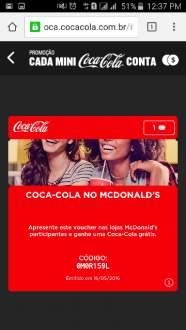 [Coca-Cola] Coca-Cola grátis no McDonald's Grátis