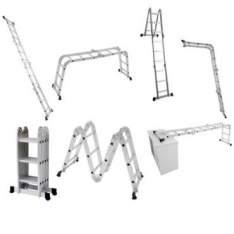 [Ricardo Eletro] Escada Multifuncional 5131 4 x 3 em Alumínio 12 degraus capacidade 150 Kg - Mor