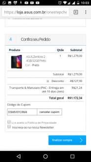 [Asus] Asus Zenfone 2 32gb aproveitem o cupom de desconto - R$1172